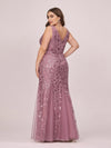 Women'S Double V-Neck Plus Size Fishtail Seuqin Evening Maxi Dress-Orchid 2