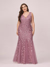 Women'S Double V-Neck Plus Size Fishtail Seuqin Evening Maxi Dress-Orchid 4