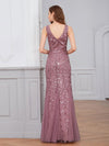 Women'S Double V-Neck Fishtail Seuqin Evening Maxi Dress-Purple Orchid 2