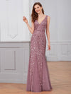 Women'S Double V-Neck Fishtail Seuqin Evening Maxi Dress-Purple Orchid 1