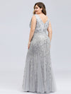 Women'S Double V-Neck Plus Size Fishtail Seuqin Evening Maxi Dress-Silver 2