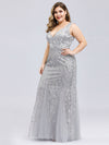 Women'S Double V-Neck Plus Size Fishtail Seuqin Evening Maxi Dress-Silver 3