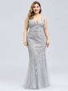 Women'S Double V-Neck Plus Size Fishtail Seuqin Evening Maxi Dress-Silver 4