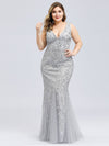 Women'S Double V-Neck Plus Size Fishtail Seuqin Evening Maxi Dress-Silver 1