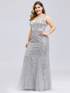 Women'S Double V-Neck Fishtail Seuqin Evening Maxi Dress-Silver 5