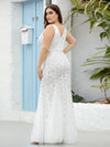 Women'S Double V-Neck Fishtail Seuqin Evening Maxi Dress-White 5
