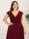 Plus Size Women'S A-Line V-Neck Sleeveless Wedding Party Bridesmaid Dress-Burgundy 5