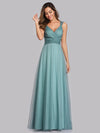 Women'S A-Line V-Neck Sleeveless Floor Length Bridesmaid Dresses-Dusty Blue 5