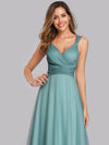 Women'S A-Line V-Neck Sleeveless Floor Length Bridesmaid Dresses-Dusty Blue 6