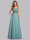 Women'S A-Line V-Neck Sleeveless Floor Length Bridesmaid Dresses-Dusty Blue 2