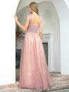 Women'S A-Line V-Neck Sleeveless Floor Length Bridesmaid Dresses-Pink 2