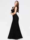 Women'S V-Neck Glitter Sequin Dress Bodycon Maxi Evening Dress-Black  2