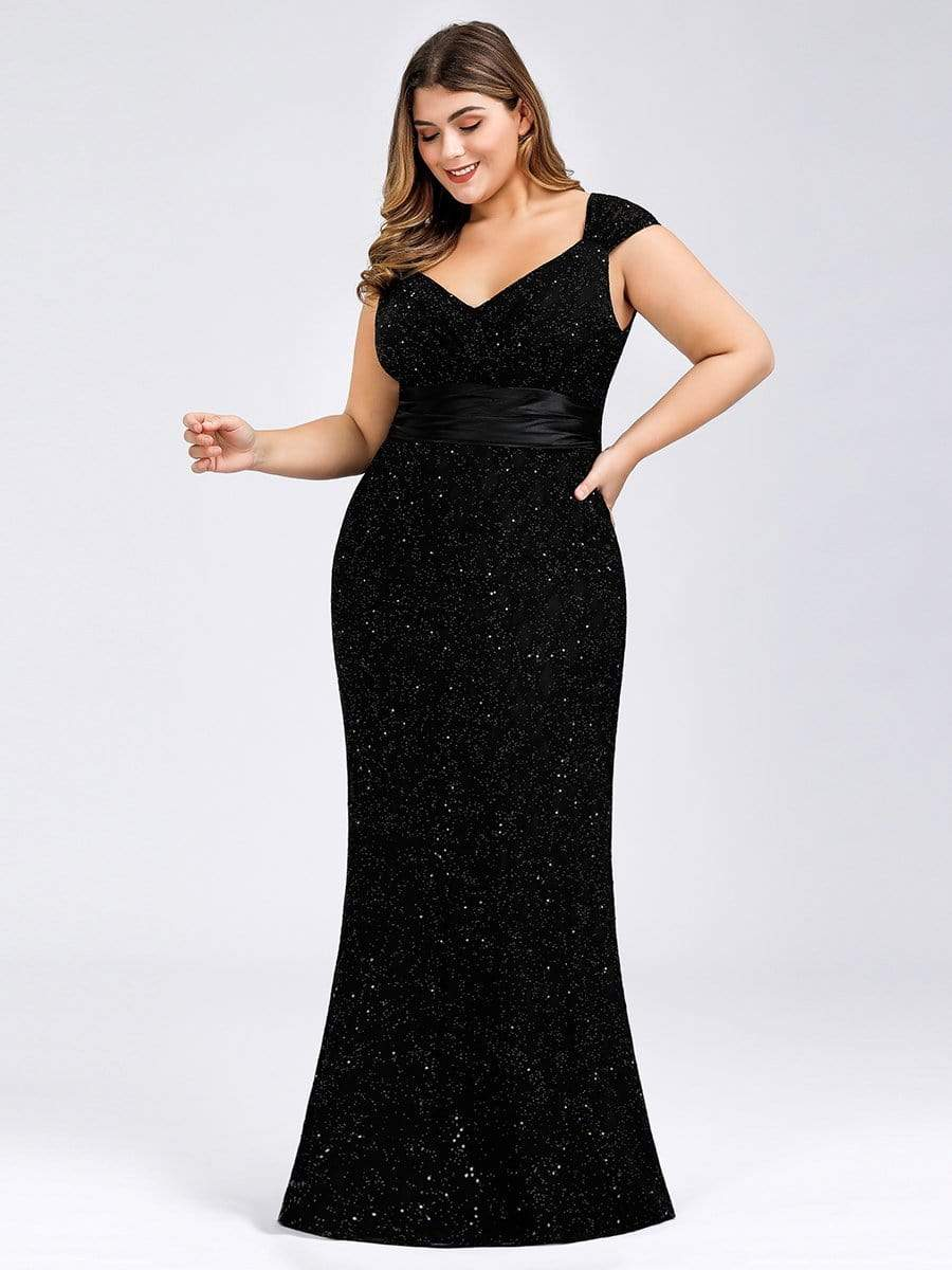 Plus Size Womens Sequin V Neck Gown Dress Bodycon Evening Cocktail Party Dress