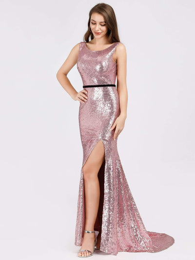 Backless Sequin Fishtail Dresses with Side Split