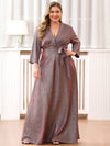 Elegant Plus Size Floor Length Party Dress-Burgundy 3