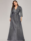Elegant Plus Size Floor Length Party Dress-Navy Blue 1