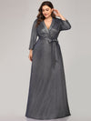 Elegant Plus Size Floor Length Party Dress-Navy Blue 4