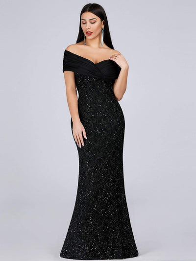 Classic Off Shoulder Floor Length Fishtail Evening Dress
