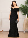 Classic Off Shoulder Floor Length Fishtail Evening Dress-Black 8