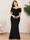 Classic Off Shoulder Floor Length Fishtail Evening Dress-Black 9