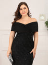 Classic Off Shoulder Floor Length Fishtail Evening Dress-Black 10