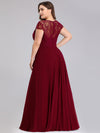 Women'S Sweetheart Cap Sleeve Floral Lace Wedding Guest Dress-Burgundy 7