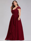 Women'S Sweetheart Cap Sleeve Floral Lace Wedding Guest Dress-Burgundy 8
