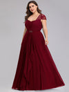 Women'S Sweetheart Cap Sleeve Floral Lace Wedding Guest Dress-Burgundy 9