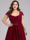 Women'S Sweetheart Cap Sleeve Floral Lace Wedding Guest Dress-Burgundy 10