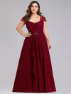 Women'S Sweetheart Cap Sleeve Floral Lace Wedding Guest Dress-Burgundy 6
