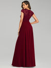 Women'S Sweetheart Cap Sleeve Floral Lace Wedding Guest Dress-Burgundy 2