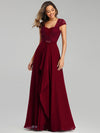 Women'S Sweetheart Cap Sleeve Floral Lace Wedding Guest Dress-Burgundy 3