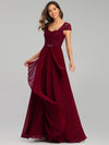 Women'S Sweetheart Cap Sleeve Floral Lace Wedding Guest Dress-Burgundy 4