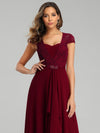 Women'S Sweetheart Cap Sleeve Floral Lace Wedding Guest Dress-Burgundy 5