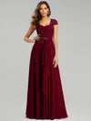 Women'S Sweetheart Cap Sleeve Floral Lace Wedding Guest Dress-Burgundy 1