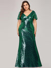 Women'S V-Neck Short Sleeve Glitter Dress Bodycon Mermaid Dress-Dark Green 4