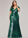 Women'S V-Neck Short Sleeve Glitter Dress Bodycon Mermaid Dress-Dark Green 1