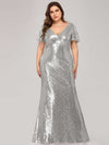Women'S V-Neck Short Sleeve Glitter Dress Bodycon Mermaid Dress-Silver 4