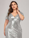 Women'S V-Neck Short Sleeve Glitter Dress Bodycon Mermaid Dress-Silver 5