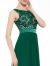 Sleeveless Long Evening Dress With Lace Bodice-Dark Green  6