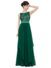 Sleeveless Long Evening Dress With Lace Bodice-Dark Green  2