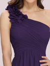 Ruched One Shoulder Evening Dress-Dark Purple 3