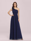 Ruched One Shoulder Evening Dress-Navy Blue 1