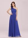 Ruched One Shoulder Evening Dress-Sapphire Blue 1