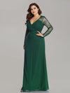 Plus Size V Neck Long Evening Gown With Lace Sleeves-Dark Green 3
