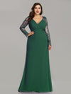 Plus Size V Neck Long Evening Gown With Lace Sleeves-Dark Green 4