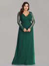 Plus Size V Neck Long Evening Gown With Lace Sleeves-Dark Green 1