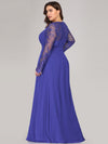 Plus Size V Neck Long Evening Gown With Lace Sleeves-Sapphire Blue 2