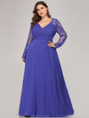 Plus Size V Neck Long Evening Gown With Lace Sleeves-Sapphire Blue 4