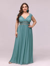 Sleeveless Grecian Style Evening Dress-Dusty Blue 4